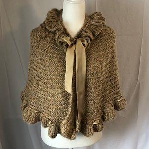 Betsey Johnson Tan Knit Shawl -OS